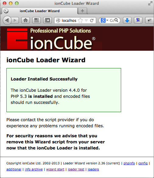 Install ionCube successfully