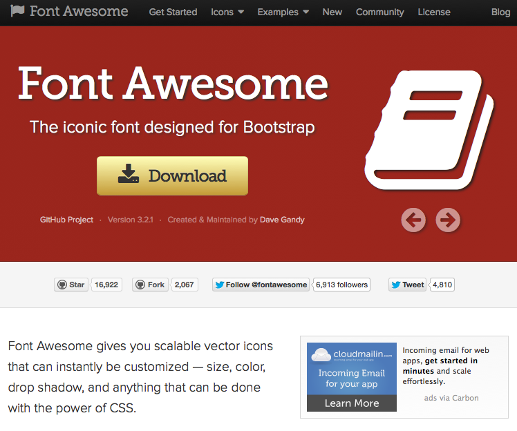 Font Awesome, landing page