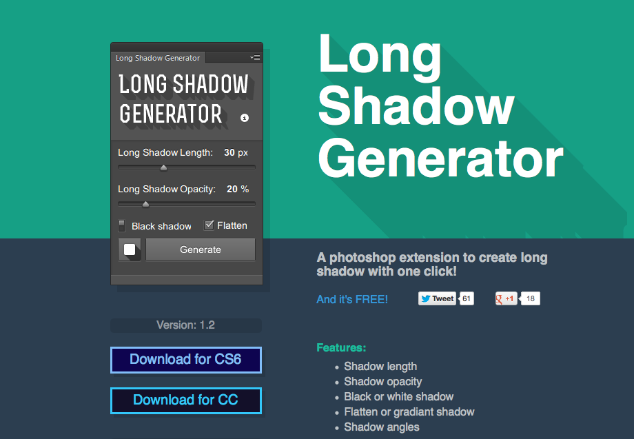 Photoshop plugin Logn Shadow Generator