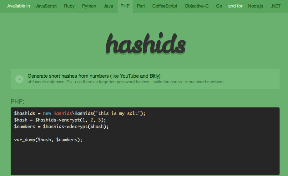 Hashids website